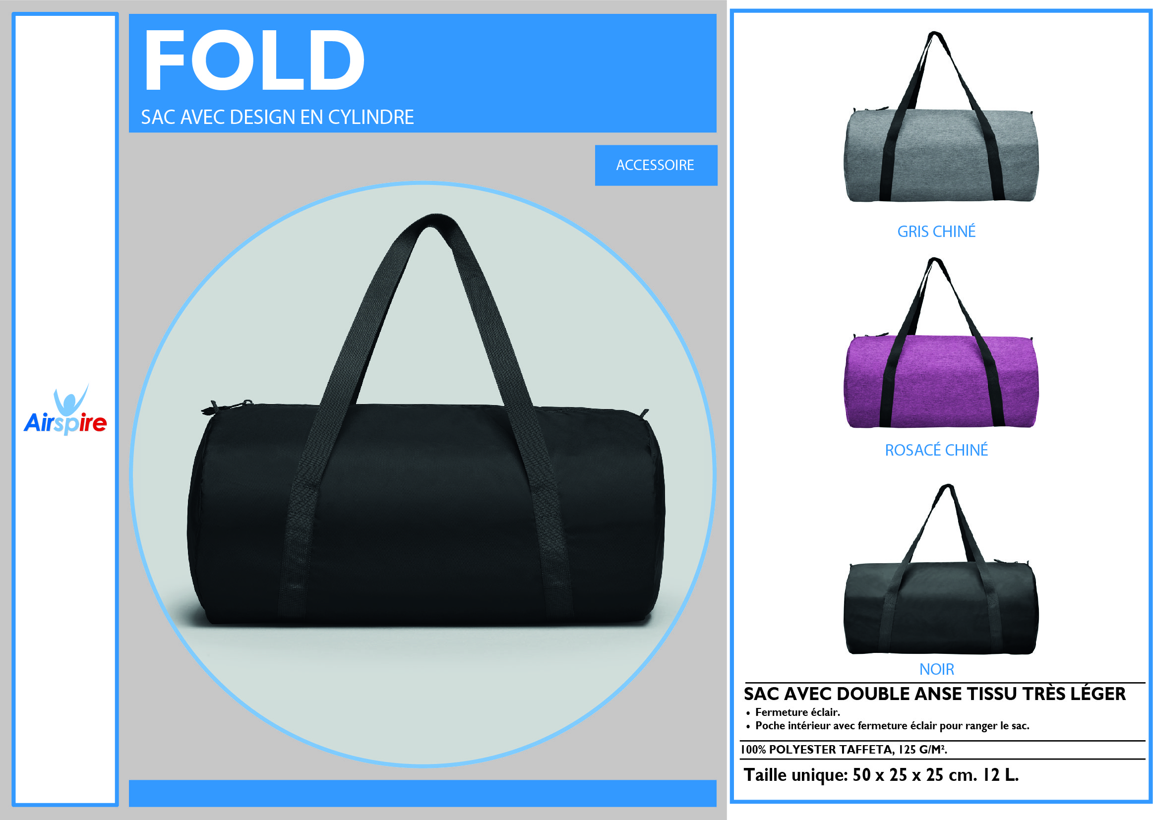 Sac de sport Fold cylindrique en 3 couleurs