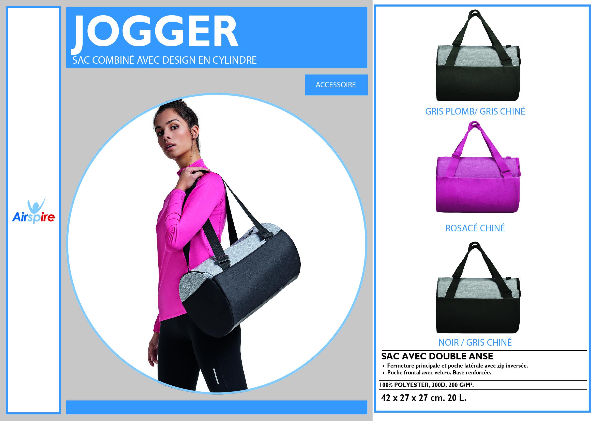 sac de sport Jogger cylindrique disponible en 3 couleurs